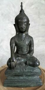 Antique 19th Century Bronze Burmese Shan Buddha Statue 17 Tall