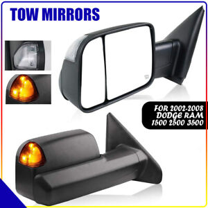 Fit 02 08 Dodge Ram 1500 03 09 2500 3500 Power Heated Turn Signal Tow Mirrors 2p