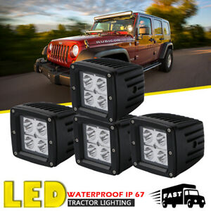 4x 3inch Led Work Light Bar Square Spot Pods Cubic Light For Yamaha Rhino Tacoma