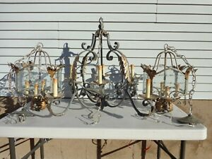 Vintage Chandeliers French Gothic Cast Iron Blown Glass Leaf Accent