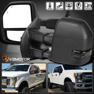 Fit 2017 2019 Ford F250 F350 Superduty Power Heated Smoke Led Signal Tow Mirrors