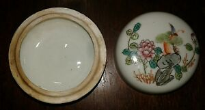 Antique Chinese Porcelain Famille Rose Round Ink Paste Box W Lid Signed Marked