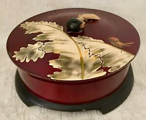 Japanese Ryukyu Lacquerware Round Lidded Box Container Hand Painted Fern