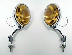Pair Amber Fog Lights Chrome Brackets Glass Vintage Style For 1936 38 Chevy