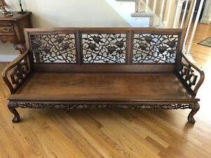 1960s Vintage Asian Rosewood Sofa Couch Bench 6 Feet Long