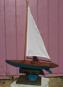 Vintage Model Wooden Pond Sailboat Sloop Boat Ship Lead Weighted Keel With Stand