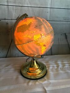 Vintage Globe Touch Lamp Illuminated Earth Night Light Underwriters Laboratories