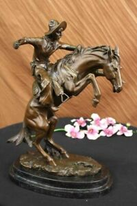 Large Rare Bronco Buster Solid Bronze Statue By Frederic Remington Hot Cast Nr