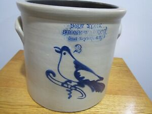 New Yorkk Stoneware Co Fort Edward Ny 2 Gallon Cobalt Decorated Bird Crock