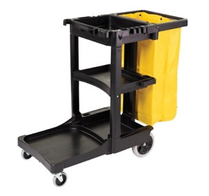 Commercial Cleaning Cart Rubbermaid With Yellow Bag Janitorial Equipment Wheels