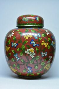 Antique Chinese Export Cloisonn Ginger Jar 7 5 Inches Tall