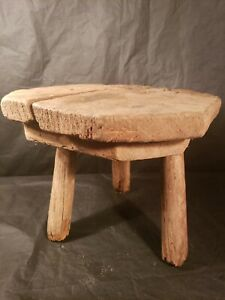 Small Wooden Milking Stool Plant Stand Step Stool Primitive Antique