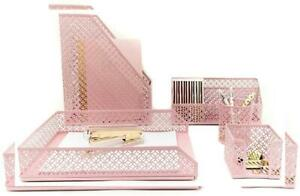 Blu Monaco Office Supplies Pink Desk Accessories For Women 5 5 Piece