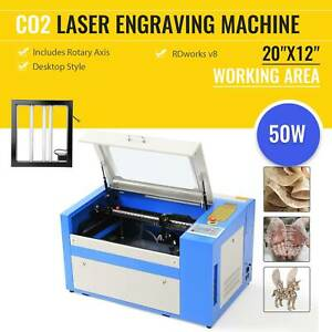 Laser Engraving Cutting Machine 50w Engraver Cutter 300x500 20 12 W rotary 110v