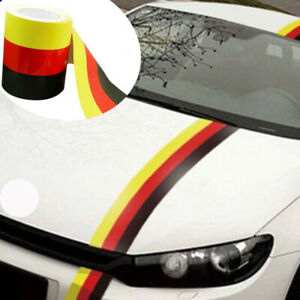 15cm 5m German 3 Color Racing Sticker Body Stripe Vinyl Decal For Euro Cars