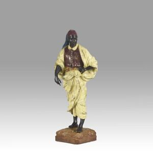 Antique Cold Painted Vienna Bronze Of A Standing Arab By Franz Bergman
