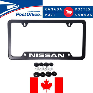 2x Nissan Black Aluminum License Plate Frame Black Frames Car Covers
