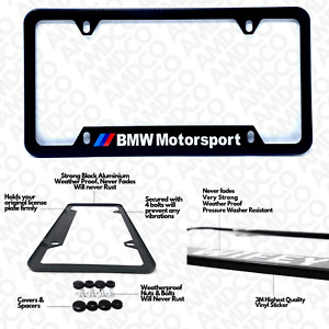 2x Bmw Motorsport Black Aluminum License Plate Frame Black Frames Car Covers