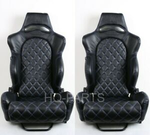 2x Tanaka Universal Black Pvc Leather Racing Seat Reclinable Blue Diamond Stitch