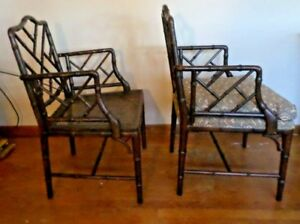 Vntg Faux Bamboo Arm Chairs 2 Hollywood Regency Chippendale Spec Del Option