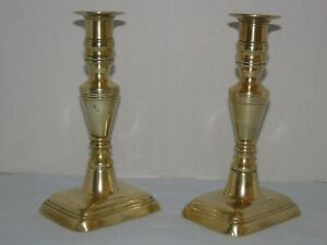 Antique English Brass Candlesticks With Push Ups Mid 19th C