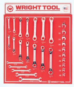 Wright Tool D956 Ratcheting Box Flare Nut And Crowfoot Wrenches 29 piece