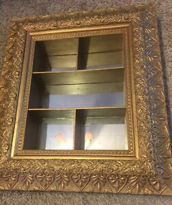 Antique Large Victorian Ornate Wood Gesso Frame Shadowbox Mirror Display Shelf