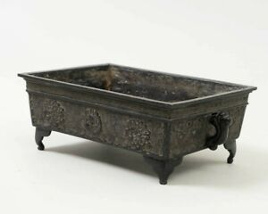 Antique Signed Chinese Bronze Rectangular Footed Planter Box W Dragons 9 5 W