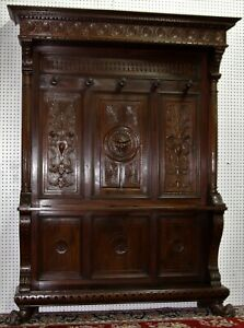 Antique Country French Carved Walnut Entry Hall Tree Claw Feet Circa 1880