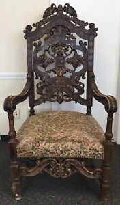 Ca 1880 Victorian Detail Carved Walnut Throne Chair