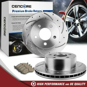 For 1993 1998 Jeep Grand Cherokee New Front Drill Slot Brake Disc Rotors Pads