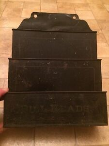 Vintage Antique General Store Kitchen Drugstore Painted Tin Bill Heads Holder