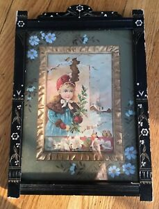 Wooden Carved Aesthetic Movement Eastlake Frame With Silk Mat Hand Painting