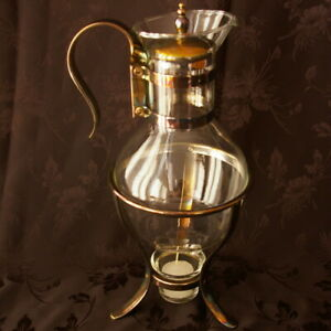 Coffee Carafe Warmer 9 Fb Rogers Corning Glass Vintage Silver Plate With Candle