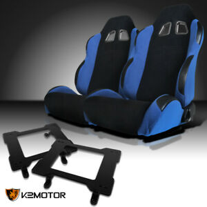 79 98 Ford Mustang Black light Blue Cloth Racing Seats W laser Welded Brackets