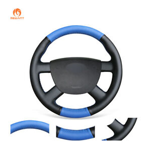 Diy Blue Black Leather Steering Wheel Cover For Ford Kuga Focus 2 C max Transit