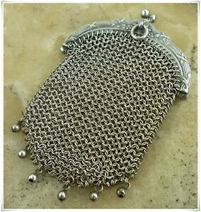 Antique French Victorian Sterling Silver Mesh Coin Purse Louis Xvi Chatelaine