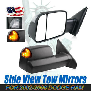 For 2002 2009 Dodge Ram Power And Headed Tow Mirrors Yellow Turn Lights Pair
