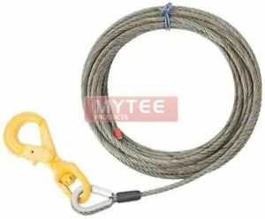 3 8 X 50 150 Wire Rope Steel Winch Cable With Locking Swivel Hook