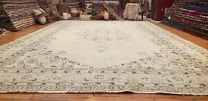 Primitive Antique Cr1930 1940 S Muted Dye Wool Pile Oushak Area Rug 7 5 11 5