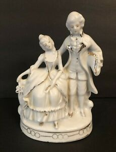 Vintage Figurine Victorian Couple Figurine Marked Made In Japan Dresden Style