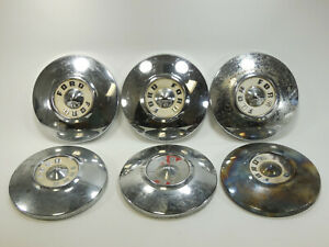 Vintage Lot Of 6 Oe Ford Chrome Centercaps Nut Covers Dog Dish 10 5