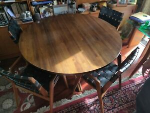 Mid Century Danish Modern Mel Smilow Dining Table 4 Woven Leather Chairs