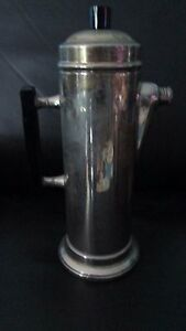 12 Tall Mid Century Modern Style Coffee Pot Hot Water Silver Plate On Copper