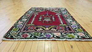 Authentic Vintage 1950 1960s Wool Pile 2 8 4 Natural Dyetribal Prayer Rug
