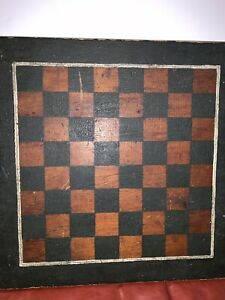 Primitive Antique Hand Made Painted Game Board Checkerboard