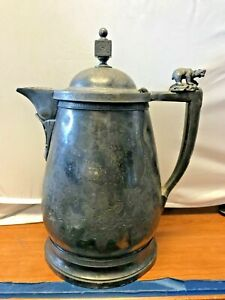 Hall Elton Co Antique Silver Plate Tankard Cpitcher Wallingford Ct Pre 1890