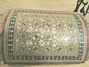 Rare Wooden Mother Of Pearl Mosaic Khatam Persian Footed Dresser Box Marquetry