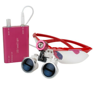 Aaa Portable Red Led Head Light Dental Lab Surgical Binocular Loupes 3 5x420 Kit