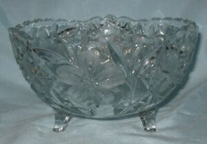 Antique Cut Glass 3 Footed Center Bowl Chip